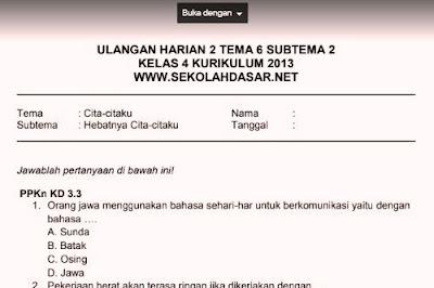 Soal Ulangan Harian K13 Kelas 4 Tema 6 Subtema 2