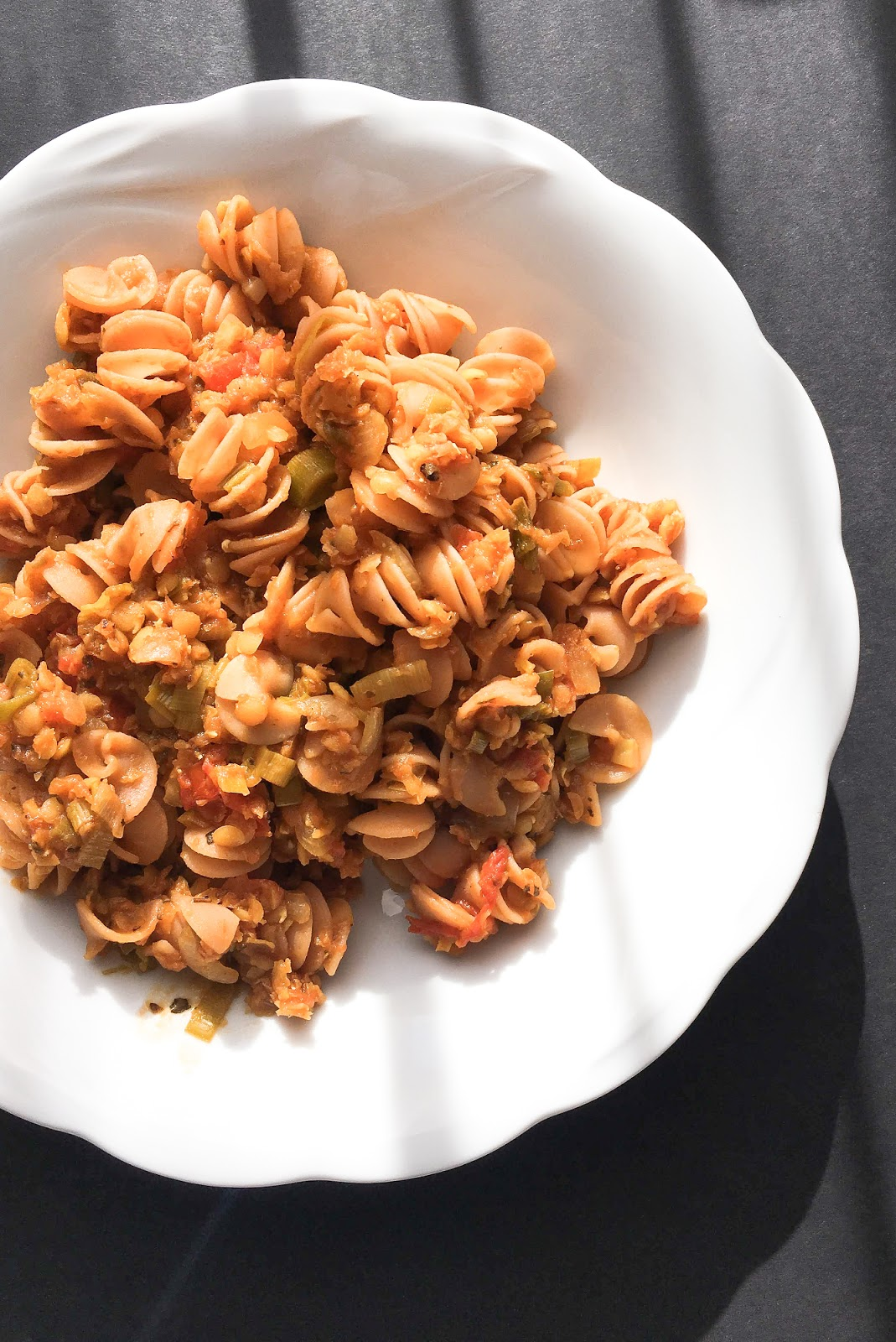 Vegan Cooking Red Lentil Pasta with Red Lentil Sauce. Gluten free