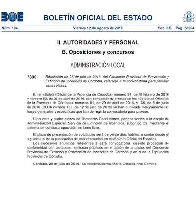BOE de la publicación de 54 plazas de bomberos en Córdoba