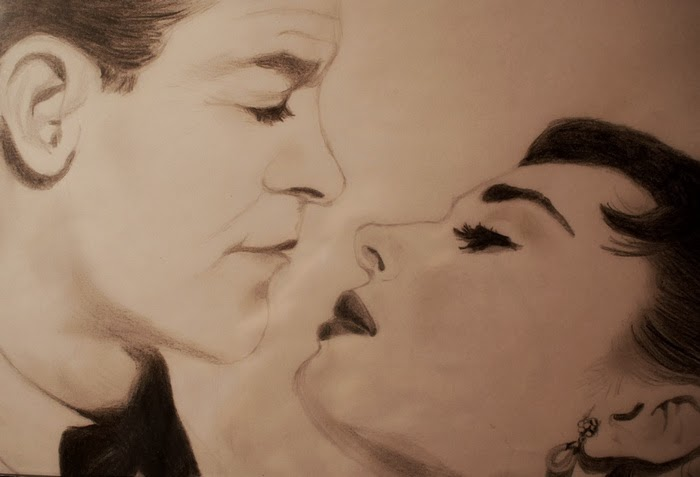 drawing williamholden audreyhepburn