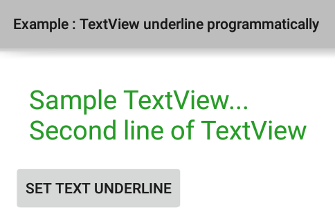 How to underline TextView text programmatically in Android