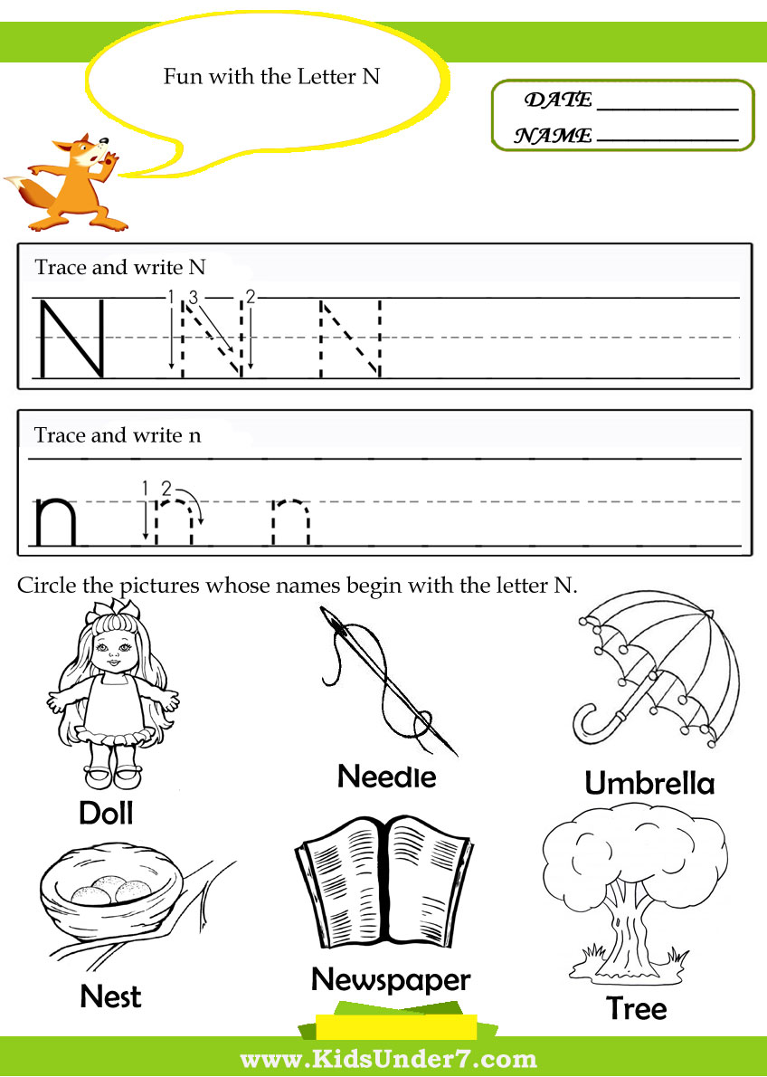 letter n alphabet activities at enchantedlearning letter n kindergarten worksheets letter n worksheets for 503