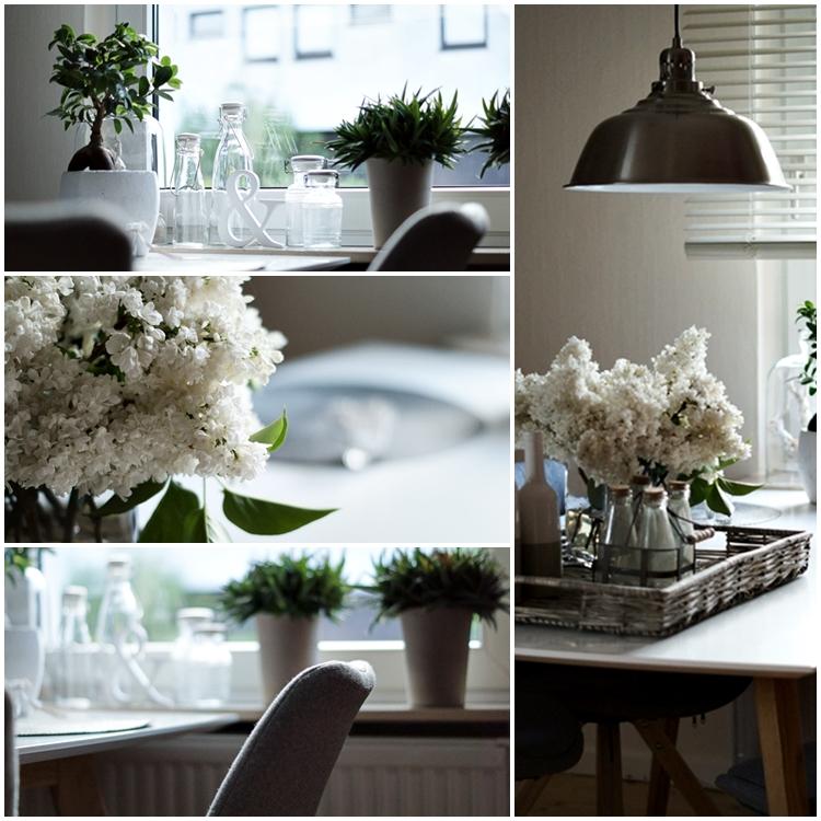 Collage von weißem Flieder und weißer Fensterdeko { by it's me! }