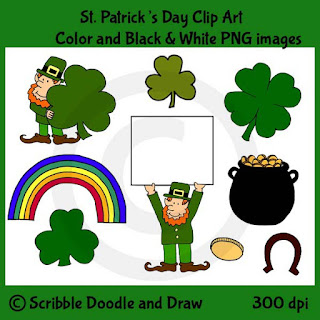 St. Patrick's day clip art images of leprechauns and pot of gold