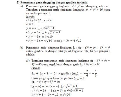 Bank Soal Matematika Kelas Xi Ipa Persamaan Garis Singgung Lingkaran Ibu Guru Susi Sr