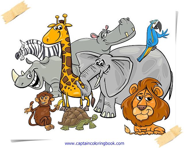 Cartoon safari animal characters
