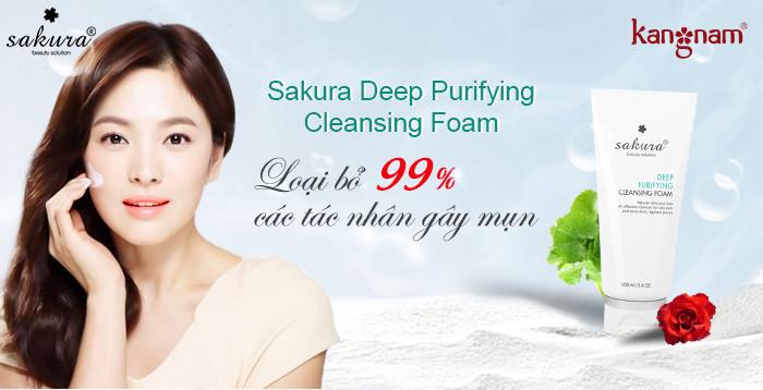 Sữa rửa mặt tự nhiên cho da dầu Sakura Deep Purifying Cleansing Foam