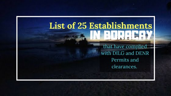 List of 25 establishments in Boracay complied