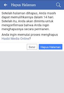 Konfirmasi penghapusan halaman fp facebook