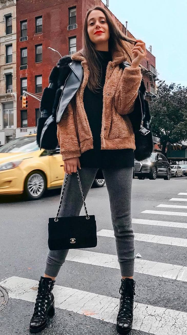 layered outfit idea for this fall / top + fur jacket + grey pants + velvet bag + leather jacket + boots