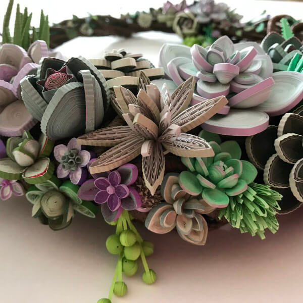 quilled succulent wreath detail with alternate side loop example