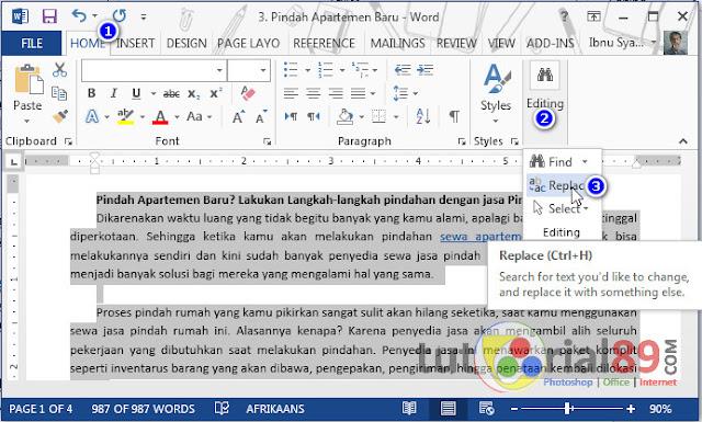 Cara cepat mengganti kata dengan find and replace di Microsoft word