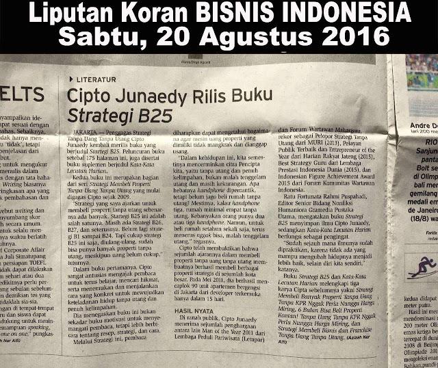 Liputan Koran Bisnis Indonesia 20 Agustus 2016