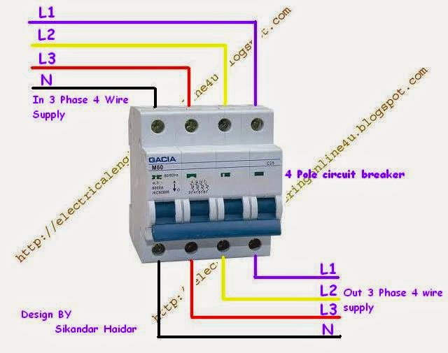 how to wire 4 pole circuit breaker for 3 phase 4 wire ... light switch wire diagram 4 pole 4 pole 4 wire diagram