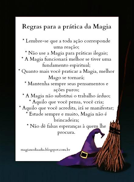 regras para a prática da magia