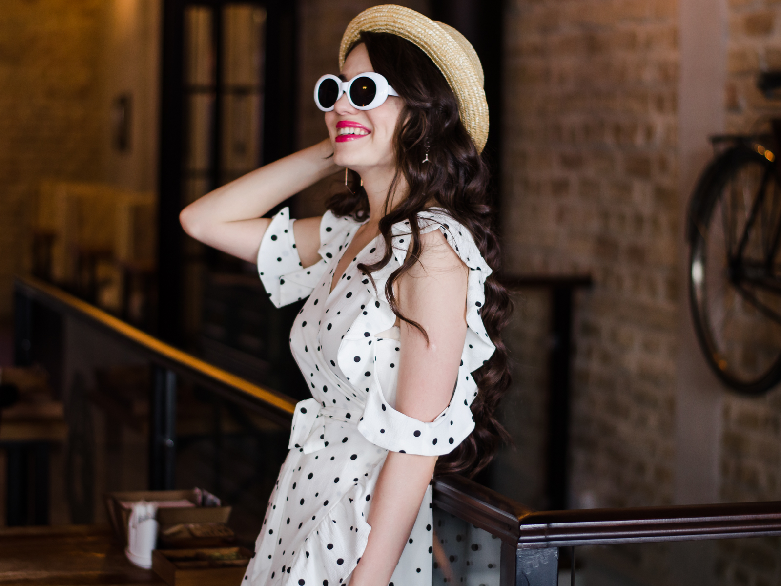 fashion blogger diyorasnotes diyora beta wrap dress mini polka dot how to wear mini dress straw bag espadrilles