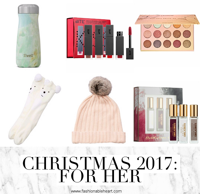 bbloggers, bbloggersca, canadian beauty bloggers, christmas, holiday, gift guide, 2017, for him, for her, for guys, for girls, chapters,sephora, swell bottle, s'well, socks, bite beauty, colourpop, elizabeth and james, nirvana