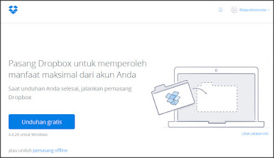 halaman utama untuk mengunduh (download) dropbox for windows