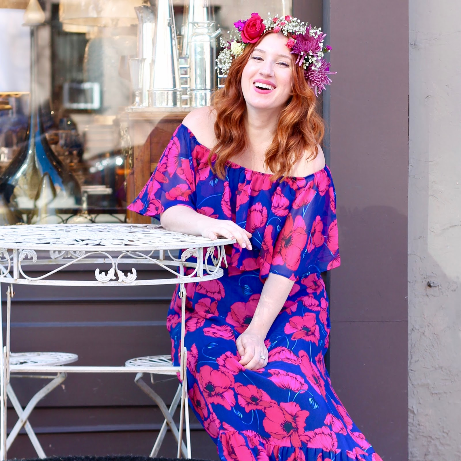 Baby Shower Style Flower Crown and Maxi Dress