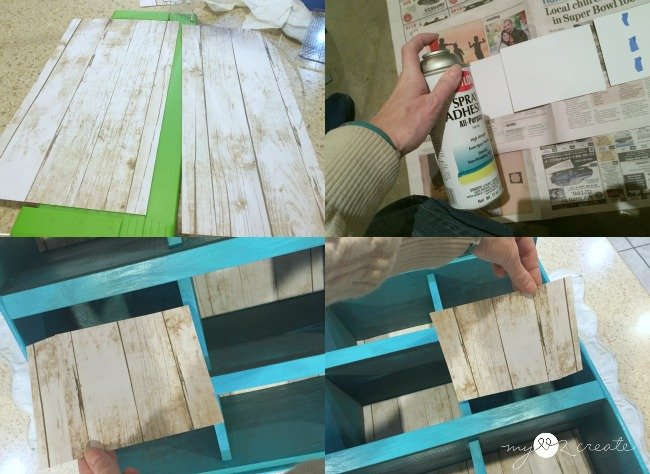 adding reclaimed wood scrap wood paper to back of cubbies
