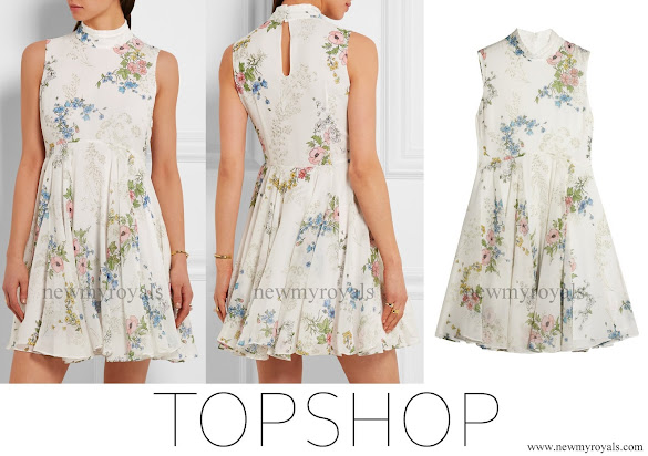 Princess Sofia wore TOPSHOP UNIQUE Hambledon floral-print silk-georgette dress