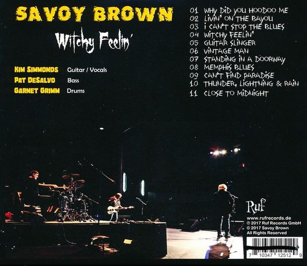 SAVOY BROWN - Witchy Feelin' (2017) back