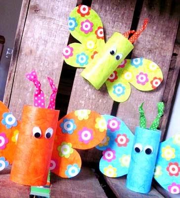 Borboletas feitas com rolos de papel higi nico dicas pra mam e - Pinterest bricolage recup ...