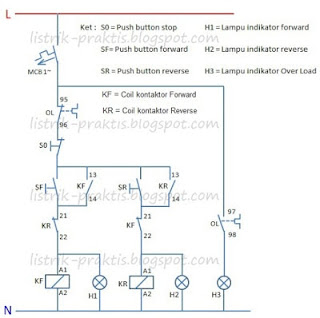 Diagram kontrol motor forward - reverse