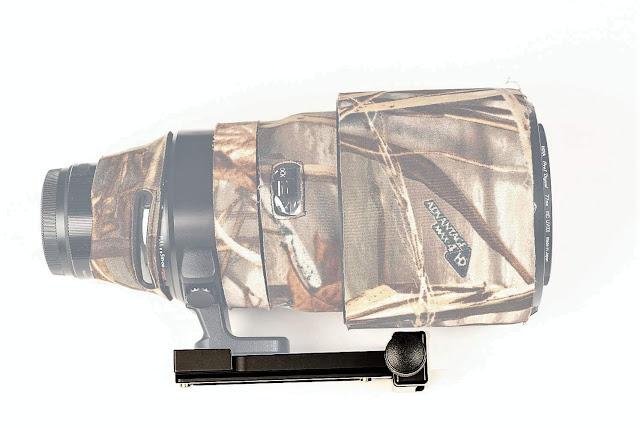 Hejnar PHOTO LLFP-FUJI-100-400 modular Lens Support on Fujifilm XF 100-400mm f/4.5-5.6 R LM OIS WR hood reversed