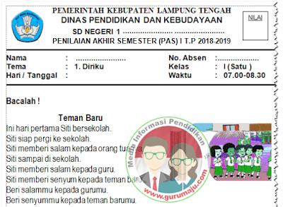 Soal UAS Kelas 1 Semester 1 Kurikulum 2013 Revisi 2018 / 2019