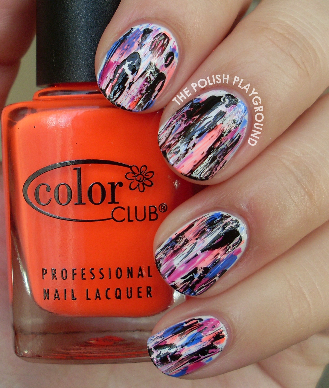 Neon Nail Art: The Polish Playground: Grungy Neon Distressed Nail Art