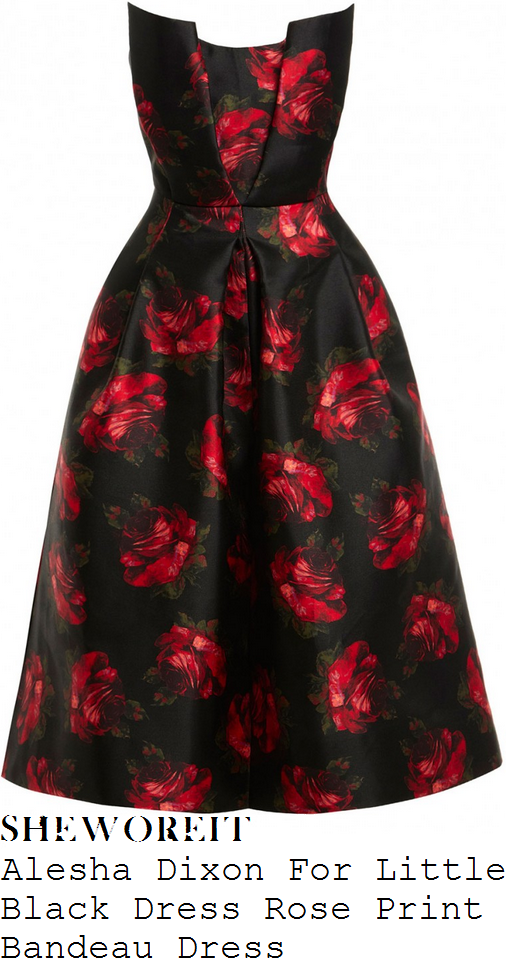 alesha-dixon-alesha-dixon-for-little-black-dress-black-ruby-red-and-green-vintage-rose-print-bandeau-pleated-neckline-detail-full-skirt-split-front-midi-dress