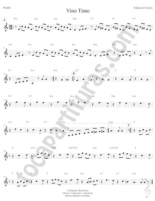 Vino Tinto Pasillo de Fulgencio Garcia Partitura Fácil con Acordes Vino Tinto Easy Sheet Music with Chords