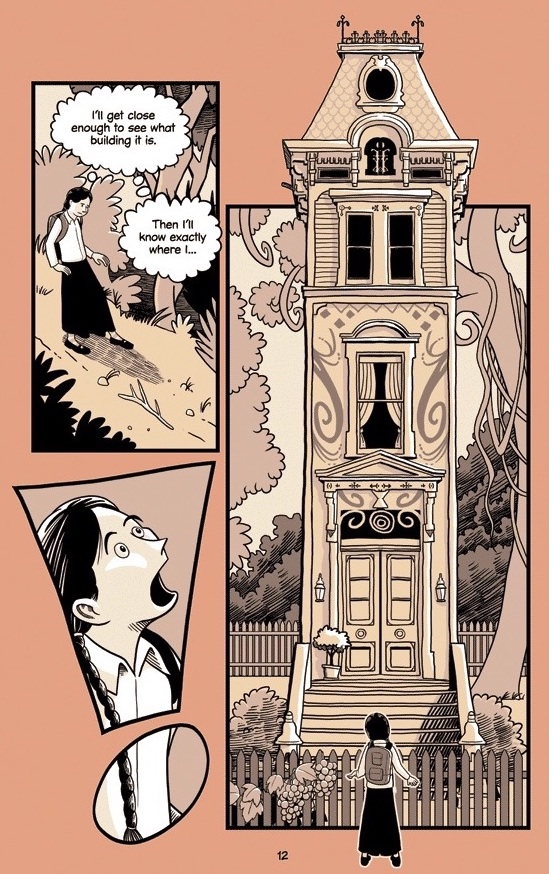 Mirka approaching an extremely thin and tall ornate house out in the woods, mouth agape in a panel shaped like an exclamation point