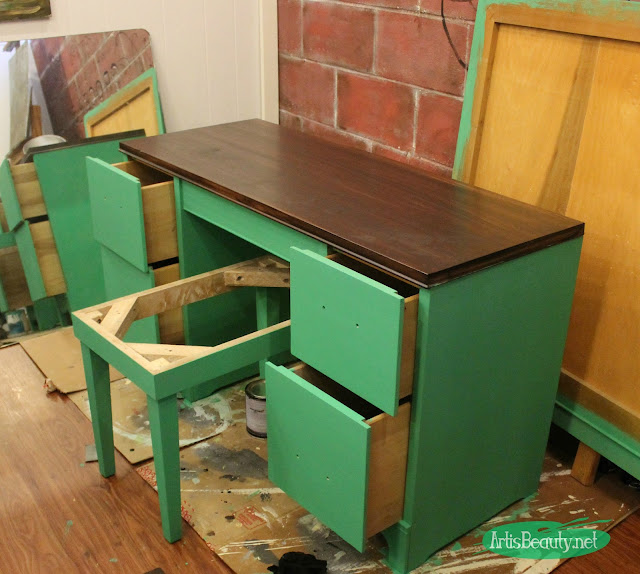 green painted furniture. While The Top Was Drying I Gave Base A Coat Of Custom Green Paint. Painted Furniture