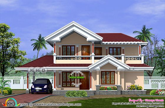 2225 sq-ft 3 bedroom typical Kerala home plan