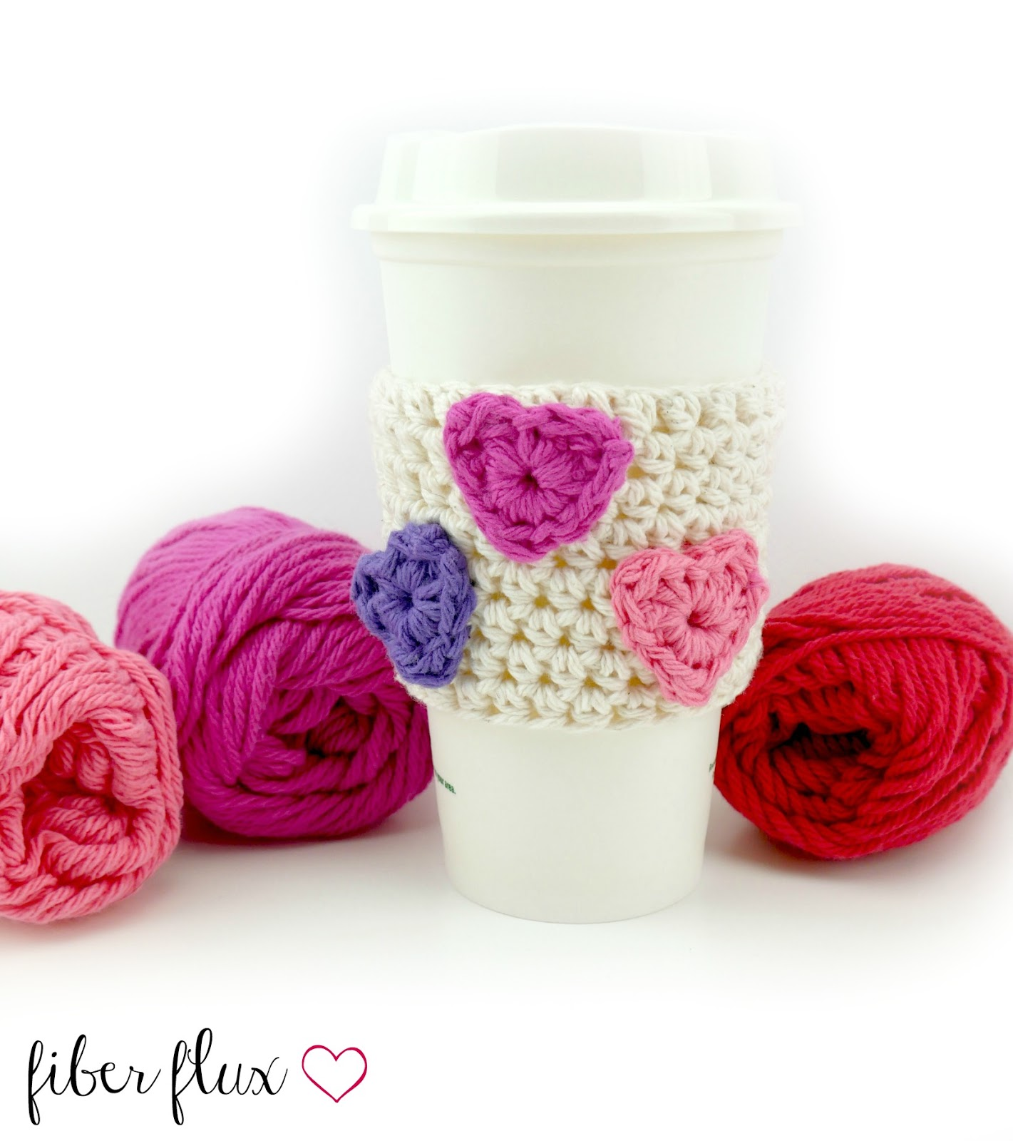 Fiber Flux Free Crochet Pattern Candy Hearts Cup Cozy