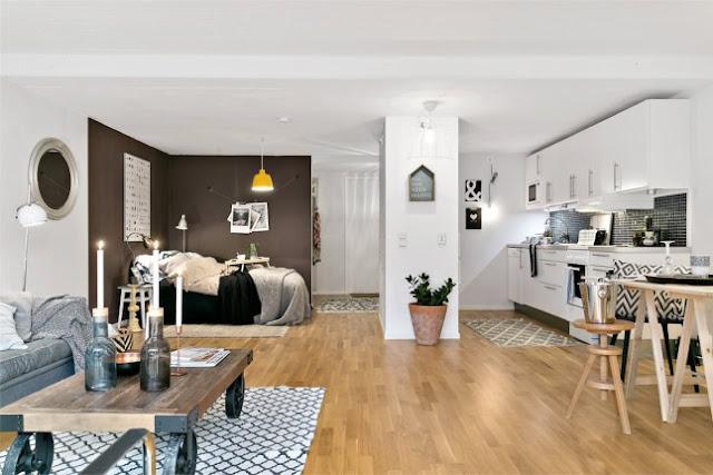 Plan deschis într-o garsonieră de 51 m²