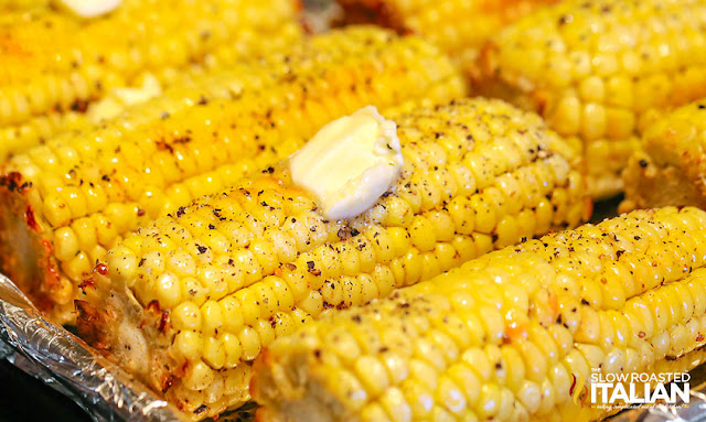 Corn on the Cob in the Oven: Sheet pan full of oven roasted corn