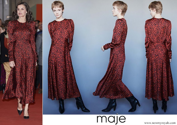 Queen Letizia wore Maje printed satin dress