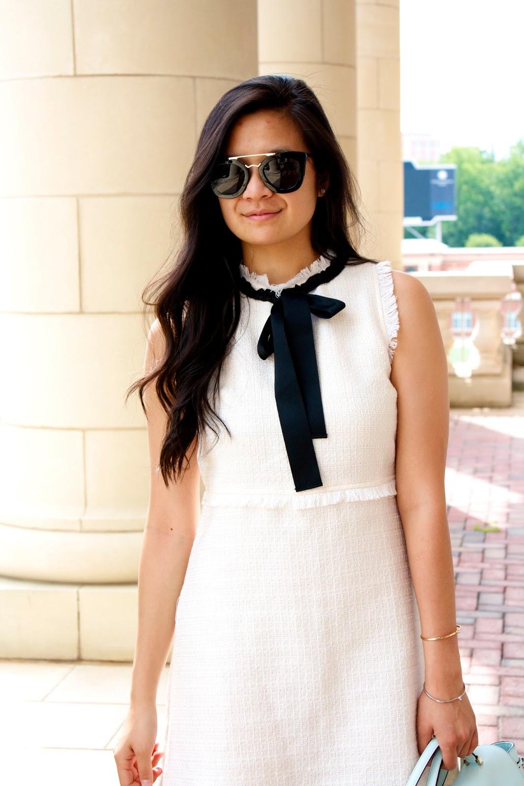 SheIn white tweed dress