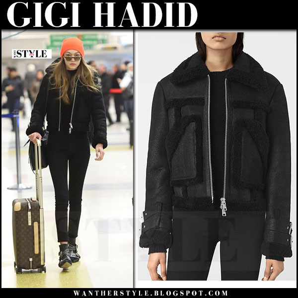 Gigi Hadid in black shearling biker jacket allsaints asher what she wore
