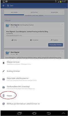 3 Langkah Menghapus Status Facebook di Android