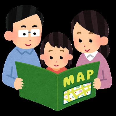 地図を見ている家族のイラスト