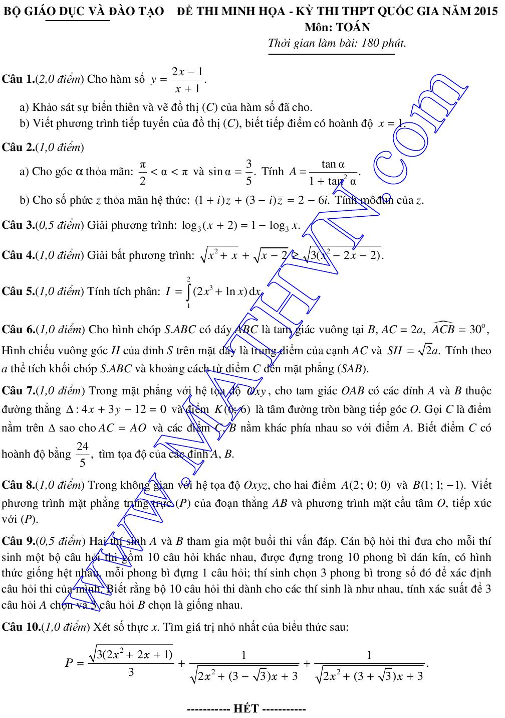 đề thi mẫu môn toán thpt quốc gia 2015 của bộ