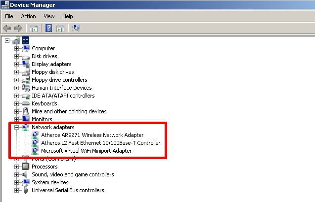 pilih menu network adhapter