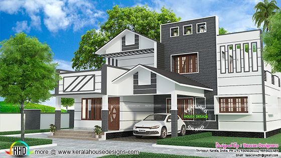 1714 sq-ft modern mixed roof villa