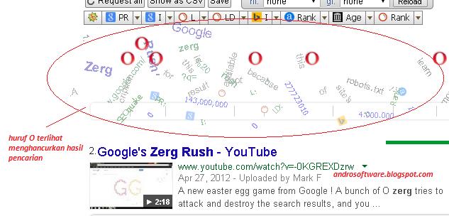 gambar fitur menarik google zerg rush huruf O