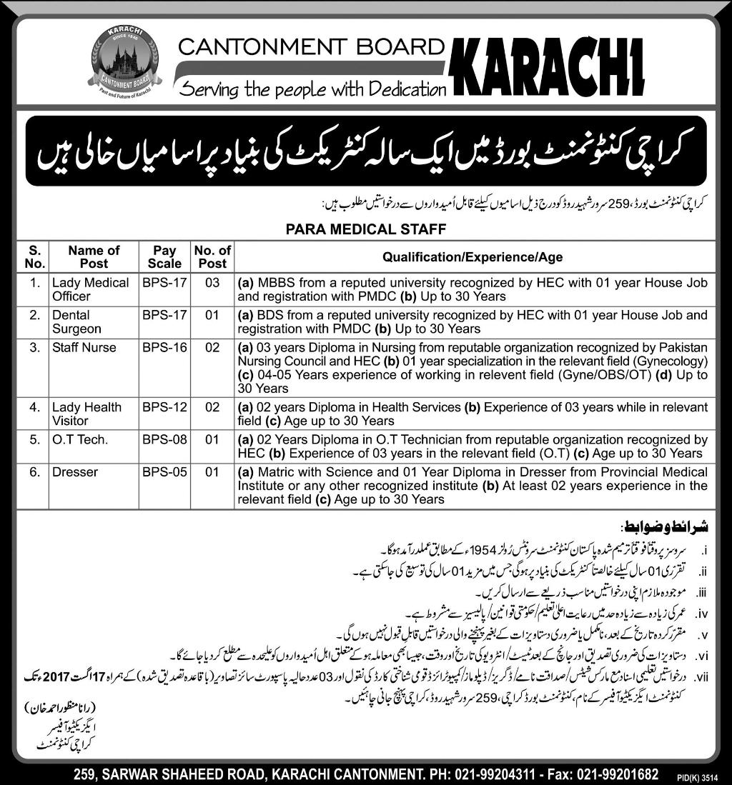 Jobs In Karachi Cantonment Board  Jul 2017
