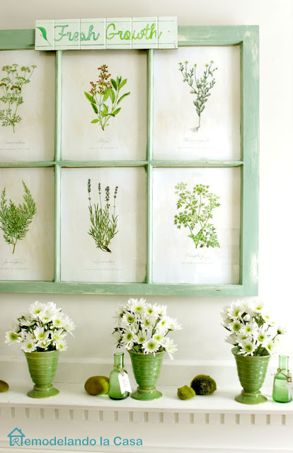 green and blue mantel decor